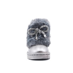 Gray stuffed girl boot with bow