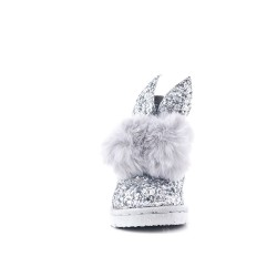 Silver sequined girl's boot with tassel