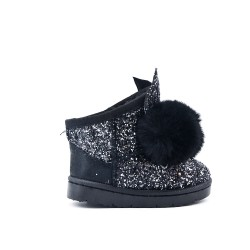 Black sequined girl boot with pompom