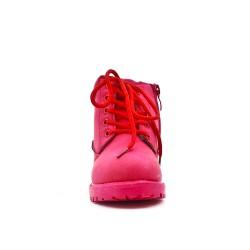 Bota chica roja con encaje