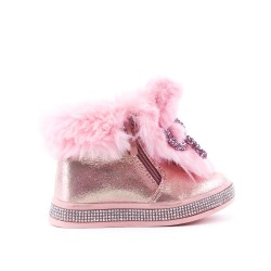 Furry pink girl boot with bow