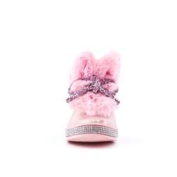 Botte fourrée fille rose à nœud
