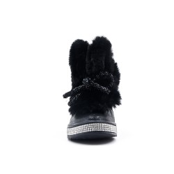 Furry black girl boot with bow