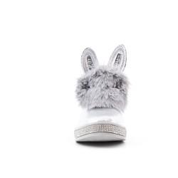 Botte fourrée fille argent à motif lapin