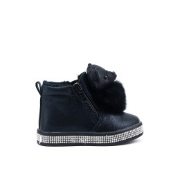 Furry black girl boot with bear pattern