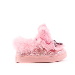 Pink sequined girl tennis with bow