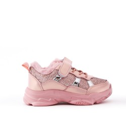 Pink lace-trimmed basketball shoe