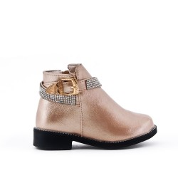 Golden girl boot with strass adorned with rhinestones
