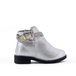 Silver girl boot with strass adorned with rhinestones