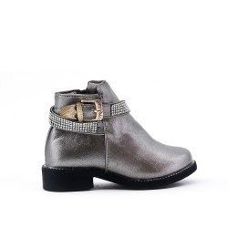 Gray girl's boot with strass adorned with rhinestones