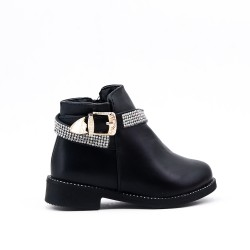 Black girl's boot with strass adorned with rhinestones