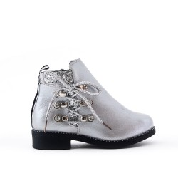 Silver girl boot with lace on the side