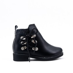 Black girl boot with lace on the side