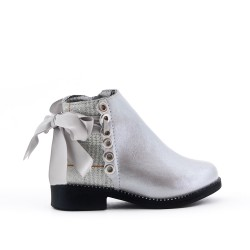 Silver girl boot with ribbon on the back