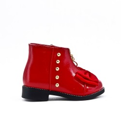 Red girl boot with bow