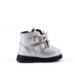 Silver girl boot with bow