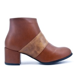 Bottine camel en simili cuir