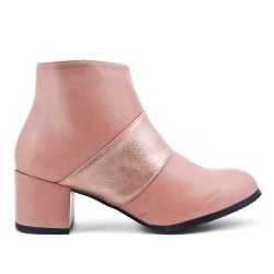 Bottine rose en simili cuir