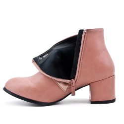 Pink ankle boot in faux leather