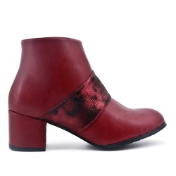 Bottine bordeaux en simili cuir