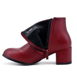 Burgundy ankle boot in faux leather