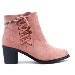 Pink ankle boot in faux suede with heel