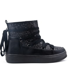 Black sequined boot with lace