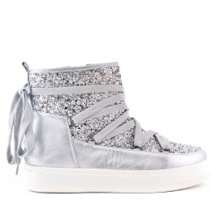 Silver sequined boot with lace