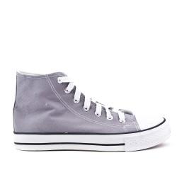 Gray canvas tennis shoe