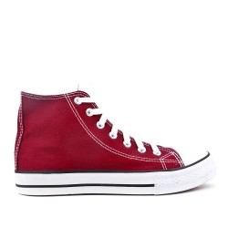 Red canvas tennis shoe