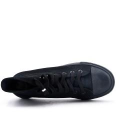Tennis en toile noire à lacet