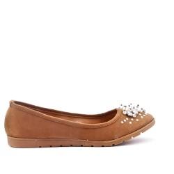 Chaussure confort camel orné de perles