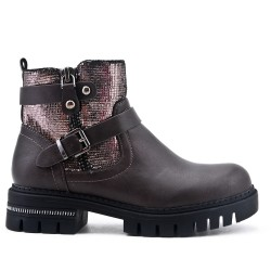 Gray boot with glittery detail