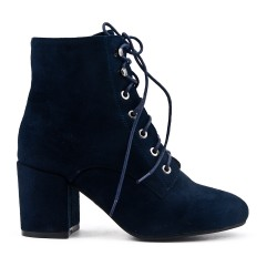 Navy blue suede ankle boot with heel