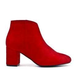 Red suede ankle boot with small heels