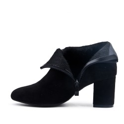 Black ankle boot in faux suede with a small heel
