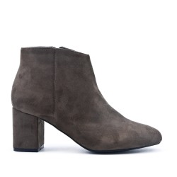 Gray suede ankle boot with small heels
