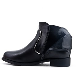 Bottine noire en simili cuir