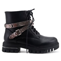 Black ankle boot with sequined strap