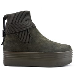 Green ankle boot in suede faux suede
