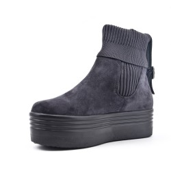 Gray suede leather ankle boot with sock