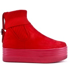 Red suede faux ankle boot with sock