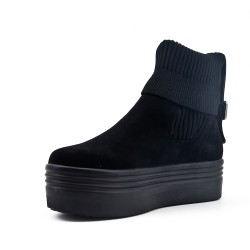 Black ankle boot in faux suede with sock