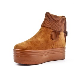 Camel ankle boot in faux suede with sock shank