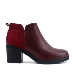 Bi-material burgundy boot with heel