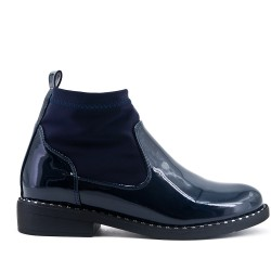Navy blue ankle boot with sock polish
