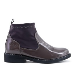 Gray ankle boot with sock polish