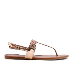 Champagne sandal with braided bridle in large size