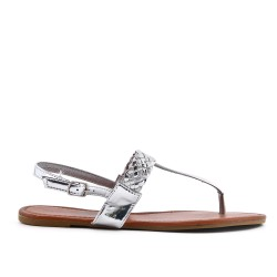 Silver sandal with braided bridle in large size