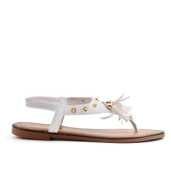 White sandal with pompom in large size